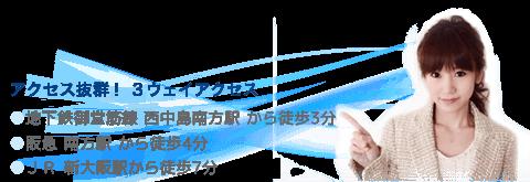 地下鉄御堂筋線 西中島南方から徒歩3分 阪急 南方駅から徒歩4分 JR新大阪駅から徒歩7分